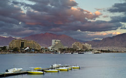 Northern beach of Eilat at sunset, Israel Royalty Free Stock Image