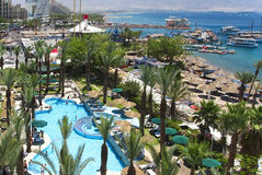 Northern beach of resort city Eilat, Israel Stock Photo