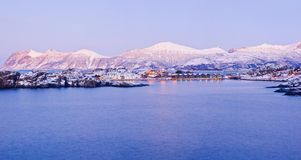 Northern beauty. Panorama. Polar night in Norway. Stock Images