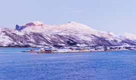 Northern beauty. Panorama. Polar night in Norway. Stock Photos