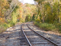 Northern bound. Train tracks in October in CT royalty free stock image