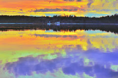 Northern bright summer sunset on river Royalty Free Stock Images