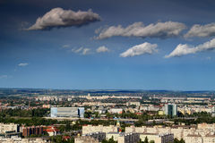 Northern Budapest with Danube Arena and high-rise buildings Stock Image