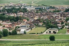 Northern Burgundy, Chablis. View of the city of Chablis, wine region in central France northern Burgundy, July 23, 2017 stock photos