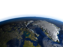 Northern Canada and Greenland at night on planet Earth Stock Image