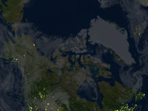 Northern Canada and Greenland at night on planet Earth Royalty Free Stock Photography