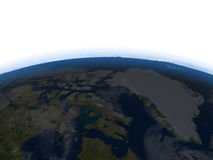 Northern Canada and Greenland at night on planet Earth Royalty Free Stock Image