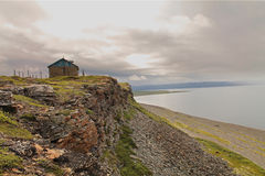 Northern coast. The Barents sea Peninsula of Rybachiy, Murmansk, Russia Royalty Free Stock Photography