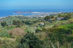 Northern coast of Gran Canaria, Las Palmas on background, Spain Royalty Free Stock Photography