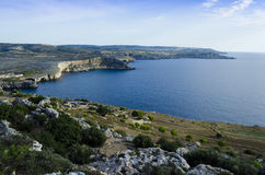 Northern coast of the Maltese islands. Stunning scenery in the northern part of Malta Stock Photos