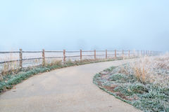 Northern Colorado bike trail in fog Stock Photography