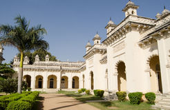 Northern Courtyard, Chowmahalla Palace. The ornate Northern Courtyard of the historic Chowmahalla Palace.  At one time home to the Nizams of Hyderabad.  Built in Royalty Free Stock Photos