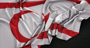 Northern Cyprus Flag Wrinkled On Dark Background 3D Render Royalty Free Stock Image