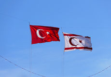 Northern Cyprus and Turkey flags Royalty Free Stock Images