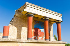 Northern entrance to Knossos palace with bull fresco Royalty Free Stock Photo