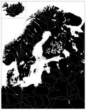 Northern Europe Black Map. No text. Highly detailed vector illustration Stock Photos