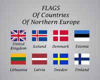 Northern Europe countries flags collection Royalty Free Stock Photo