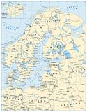 Northern Europe Map. Highly detailed vector illustration Stock Photography