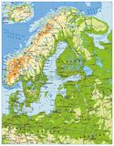 Northern Europe Physical Map. Highly detailed vector illustration Stock Photos