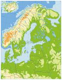 Northern Europe Physical Map. No text. Highly detailed vector illustration Stock Image