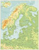 Northern Europe Physical Map. Retro color. Highly detailed vector illustration Royalty Free Stock Photo