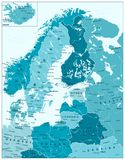 Northern Europe Political Map In Aqua Blue Colors. Highly detailed vector illustration Royalty Free Stock Photos