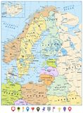 Northern Europe Political Map and Flat Pin Icons. Highly detailed vector illustration Royalty Free Stock Photos