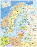 Northern Europe Political Map. Highly detailed vector illustration Stock Photography