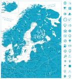Northern Europe Road Map. Highly detailed vector illustration Stock Photography