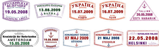 Northern European Passport Stamps Royalty Free Stock Photography