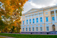 Northern facade of Mikhailovsky palace, building of the State Russian museum in St Petersburg, Russia -closeup view Stock Image