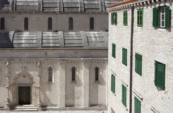 Northern facade of Saint James Cathedral. In Åibenik, most important architectural monument of the Renaissance in Croatia royalty free stock images