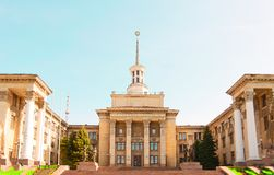 Northern facade of School of Fine Arts. (Former in Soviet period: The House of Technics for Ministry of Coal Industry). Urban Architecture style: Stalins Stock Images