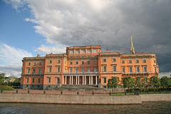 Northern facade of St. Michael's Castle (or Mikhailovsky Castle or Engineers' Castle) from the Moika River, ST. PETERSBURG, RUSSIA Stock Photography