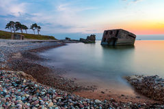 Northern forts after sunset. Remains of the Northern forts in water of Baltic sea in Liepaja, Latvia after sunset Stock Photos
