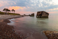 Northern forts after sunset. Remains of the Northern forts in water of Baltic sea in Liepaja, Latvia after sunset Royalty Free Stock Photos