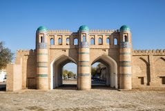 Northern gate of Khiva. Northern gate of the fortress of Dishan-Kala, the outer town of Khiva, Uzbekistan stock photography