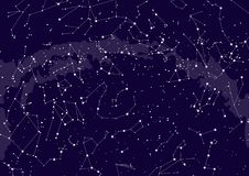 Northern hemisphere constellations, star map. Science astronomy, star chart on blue background vector illustration