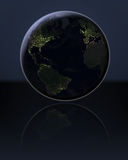 Northern Hemisphere in the dark. Northern Hemisphere at night on globe with visible city lights. 3D illustration. Elements of this image furnished by NASA Stock Photo