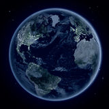 Northern Hemisphere at night from space Royalty Free Stock Photos