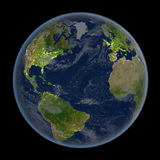 Northern Hemisphere at night from space Royalty Free Stock Photo