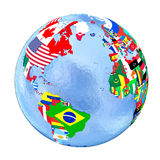 Northern Hemisphere on political globe with flags isolated on wh Stock Photo