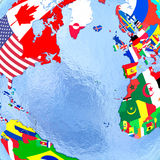 Northern Hemisphere on political globe with flags Royalty Free Stock Photography