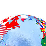 Northern Hemisphere on political globe with flags Royalty Free Stock Photo