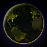 Northern Hemisphere from space at night Stock Photography