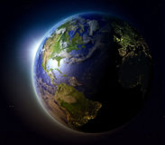 Northern Hemisphere from space at sunset Stock Photography