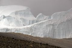 Northern Ice Field Kilimanjaro. The Northern Ice field towers above the edge of the Mt. Kilimanjaro crater Stock Images