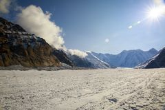 Central Tien Shan. The Northern Inylchek Glacier in the mountains of Central Tien Shan royalty free stock photography