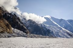 Central Tien Shan. The Northern Inylchek Glacier in the mountains of Central Tien Shan royalty free stock photos