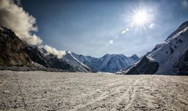 Central Tien Shan. The Northern Inylchek Glacier in the mountains of Central Tien Shan stock images